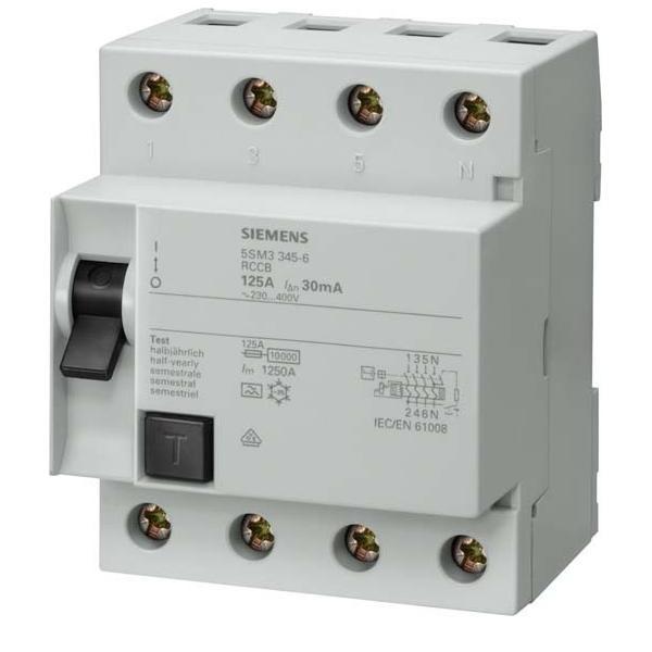 Siemens Indus.Sector FI-Schutzschalter 125A 0,5A 5SM3745-6