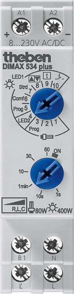 Theben Reiheneinbau-Dimmer f.ESL u.230V LED-Lp. DIMAX 534 plus