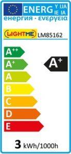 EU-Energielabel einer LED-Lampe der Energieeffizienzklasse A+ mit einem gewichteten Energieverbrauch von 3 kWh/1000h